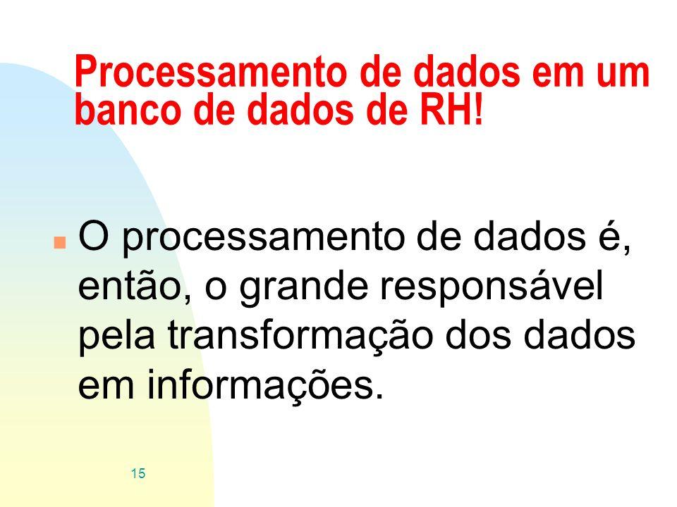 Processamento de dados em um banco de dados de RH!