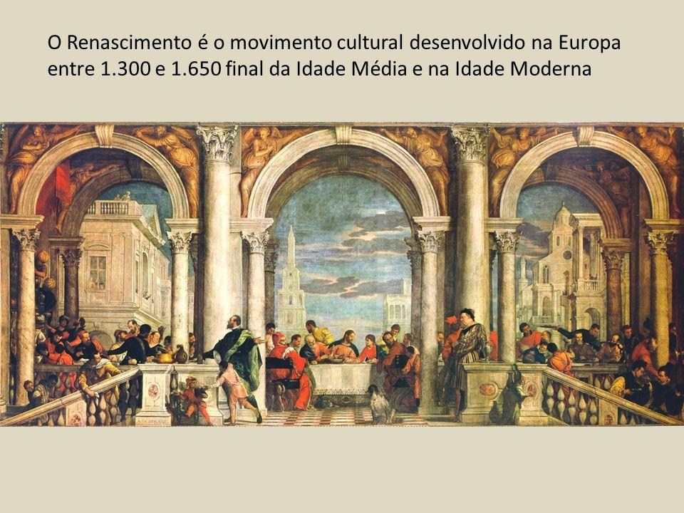 O Renascimento é o movimento cultural desenvolvido na Europa entre 1