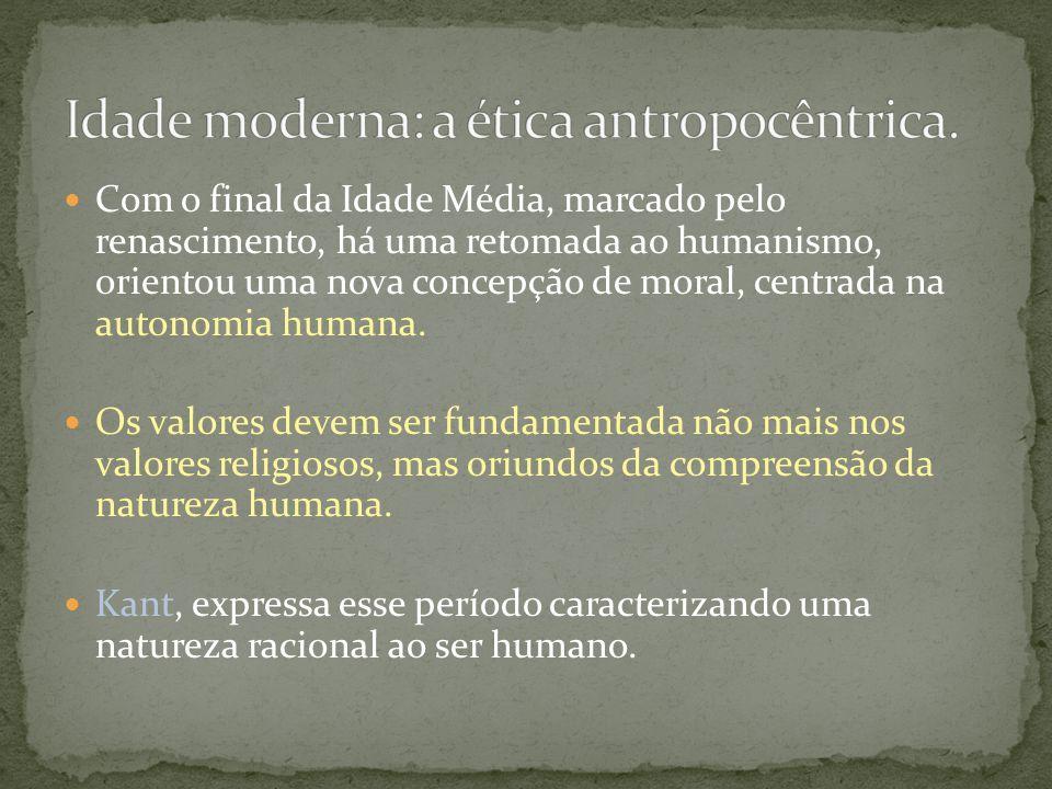 Idade moderna: a ética antropocêntrica.