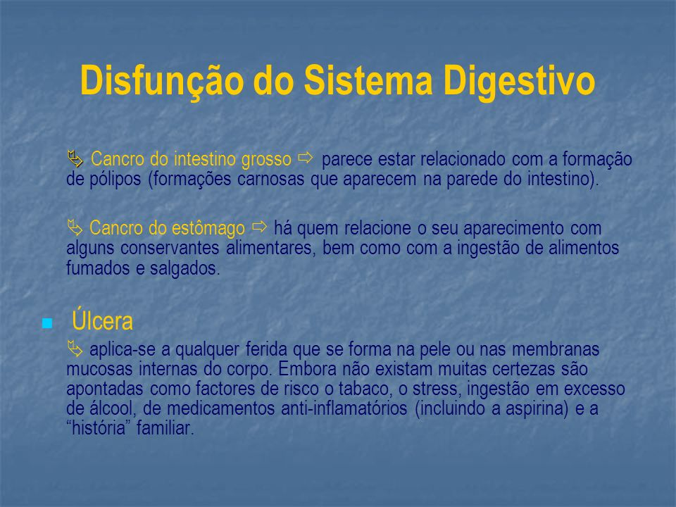 Disfunção do Sistema Digestivo