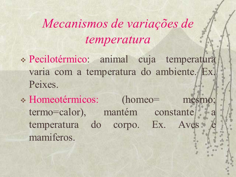 Mecanismos de variações de temperatura