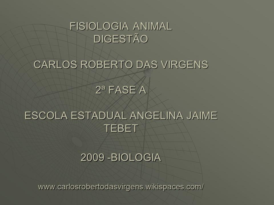FISIOLOGIA ANIMAL DIGESTÃO CARLOS ROBERTO DAS VIRGENS 2ª FASE A ESCOLA ESTADUAL ANGELINA JAIME TEBET 2009 -BIOLOGIA www.carlosrobertodasvirgens.wikispaces.com/
