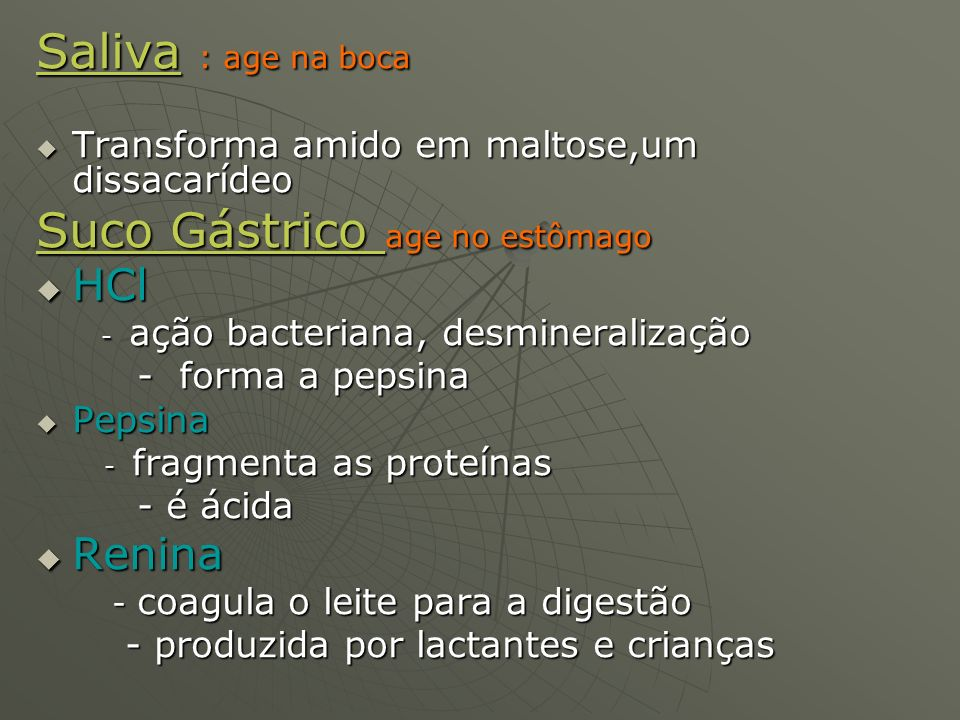Suco Gástrico age no estômago