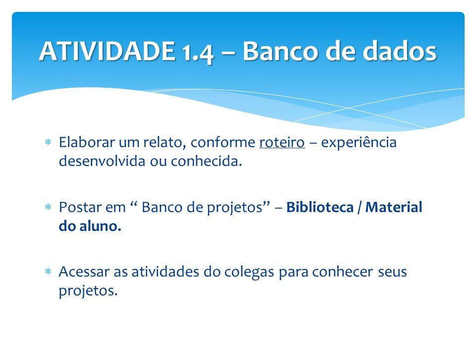 ATIVIDADE 1.4 – Banco de dados