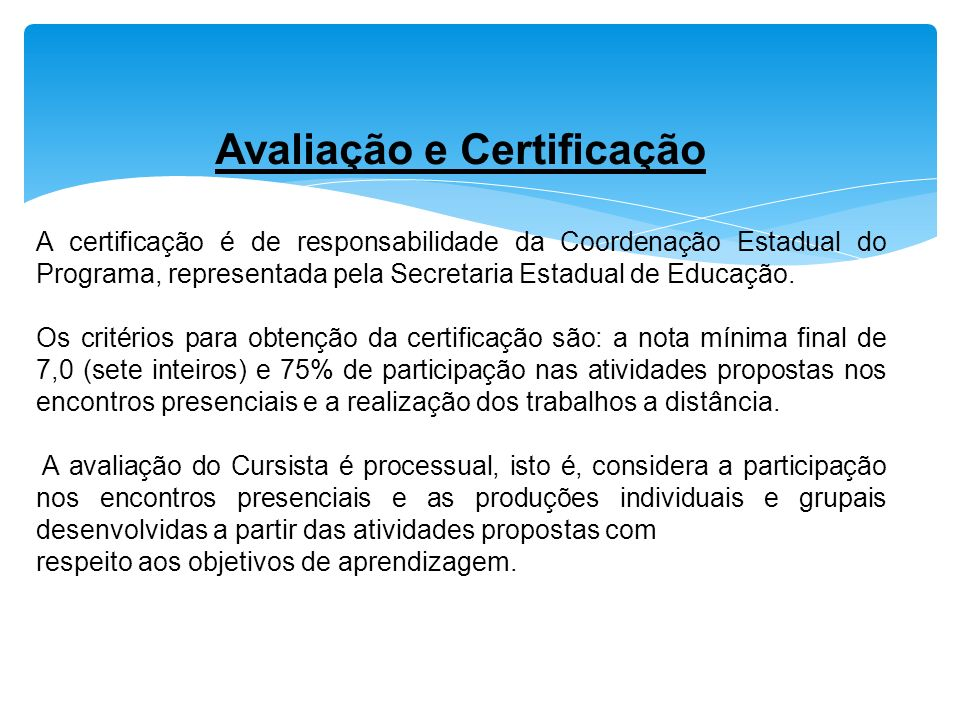 Avaliação e Certificação