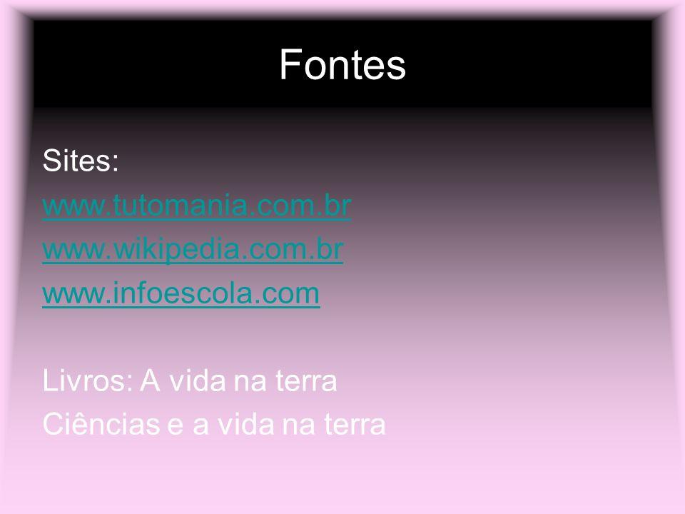 Fontes Sites: www.tutomania.com.br www.wikipedia.com.br