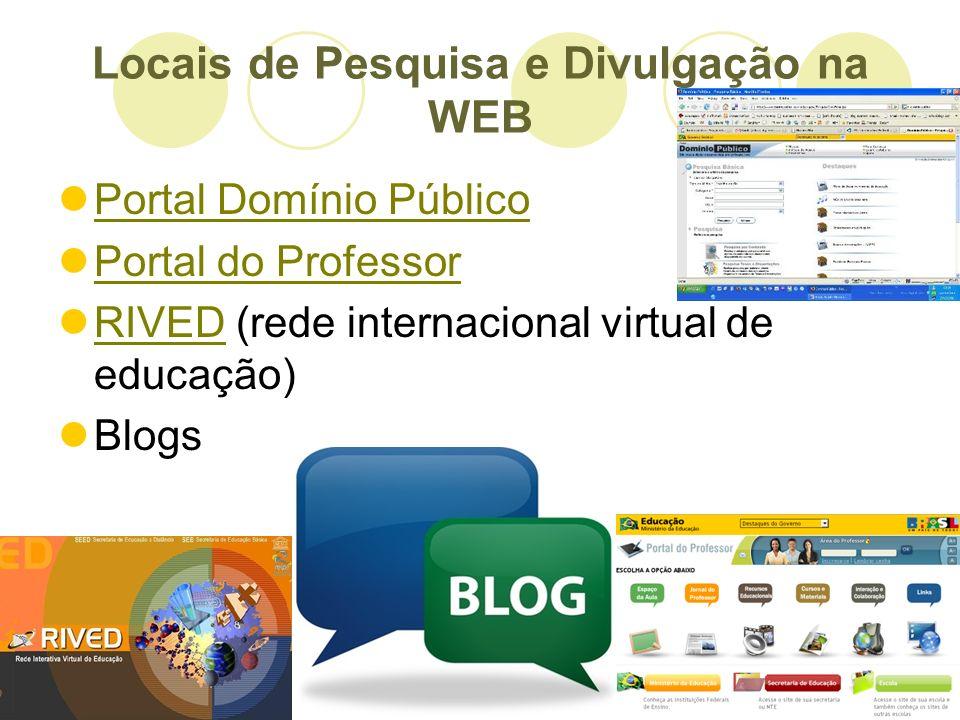 Locais de Pesquisa e Divulgação na WEB
