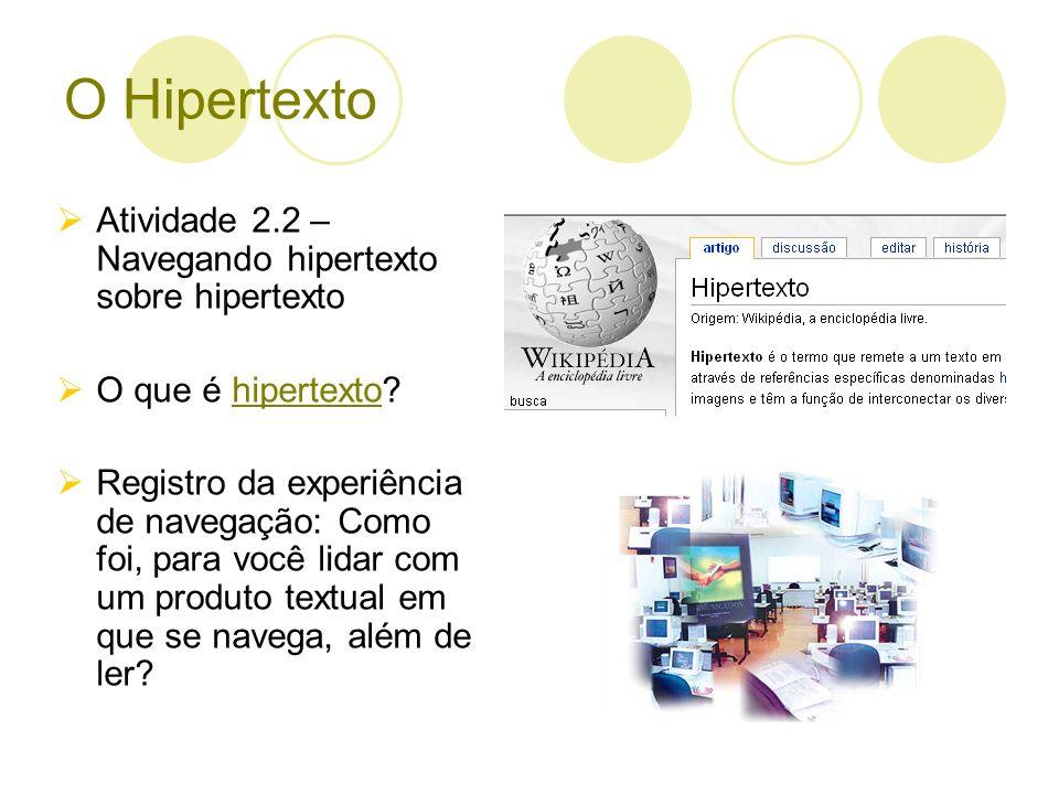 O Hipertexto Atividade 2.2 – Navegando hipertexto sobre hipertexto