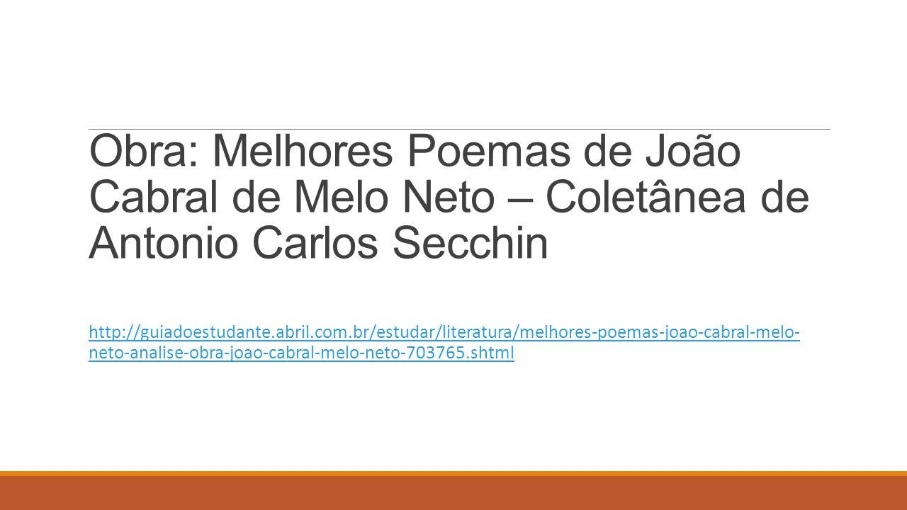 Obra: Melhores Poemas de João Cabral de Melo Neto – Coletânea de Antonio Carlos Secchin