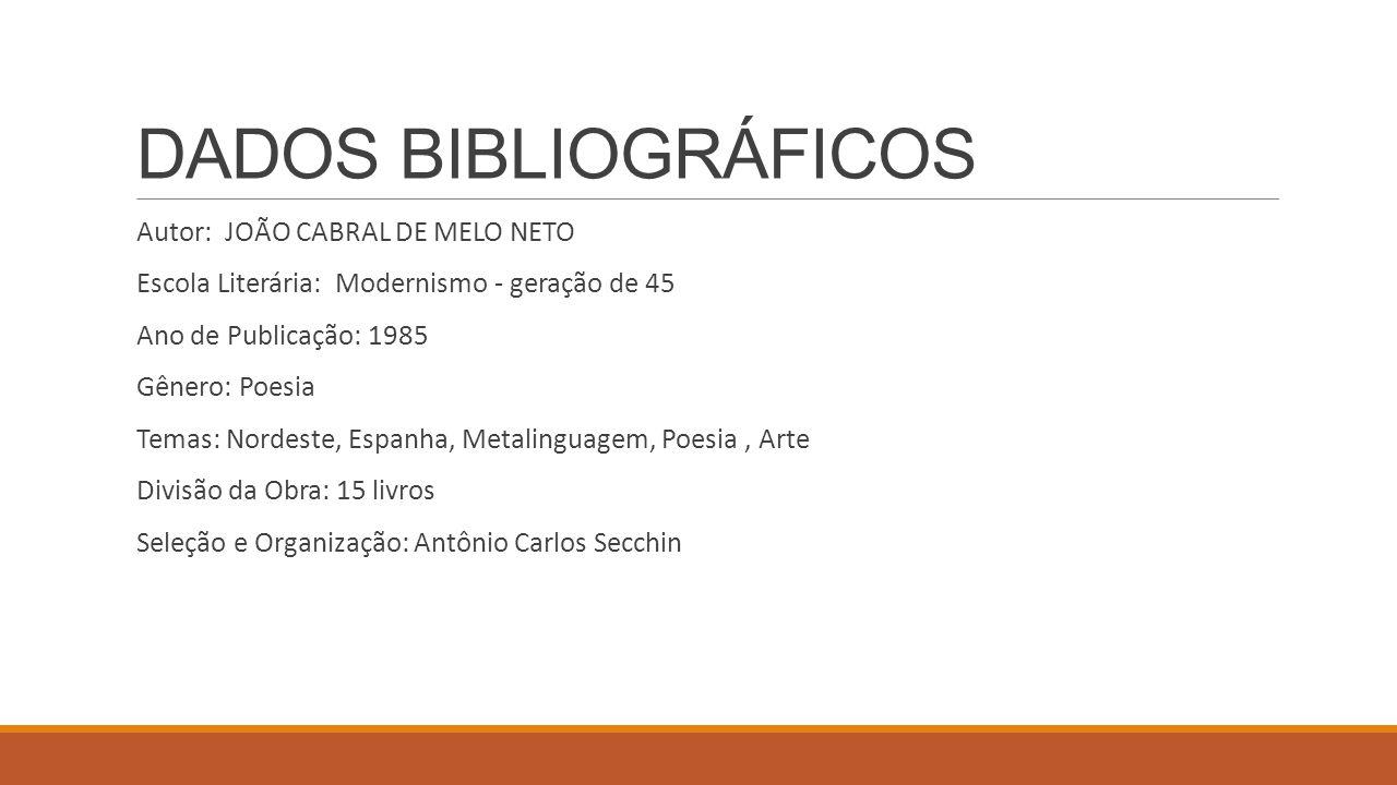 DADOS BIBLIOGRÁFICOS Autor: JOÃO CABRAL DE MELO NETO