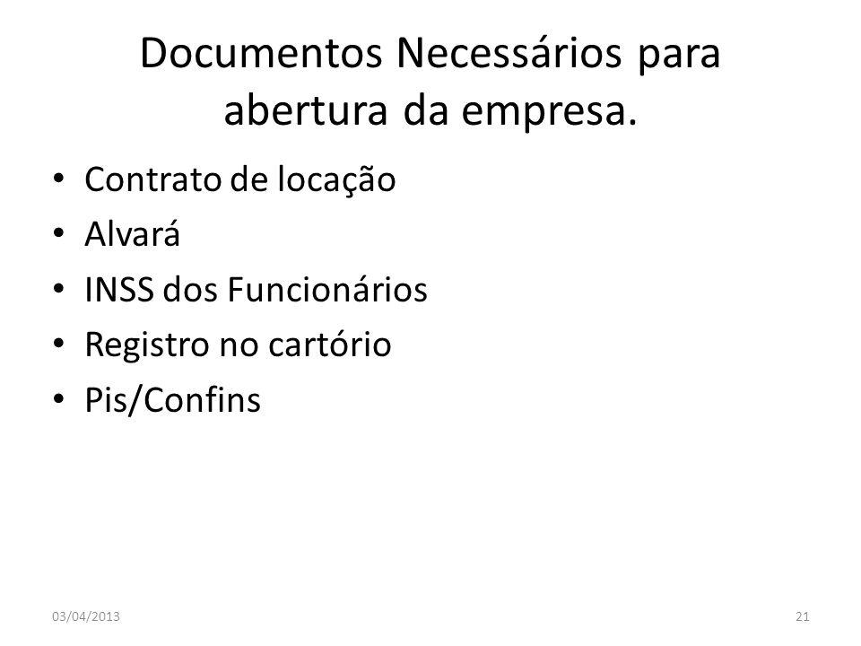 Documentos Necessários para abertura da empresa.