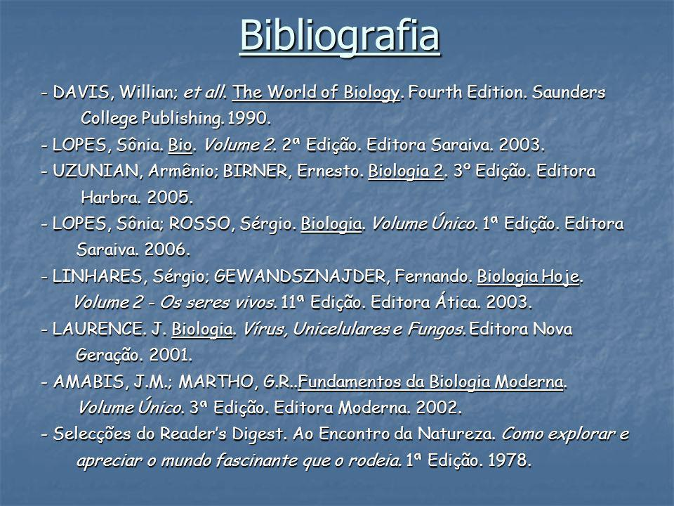 Bibliografia - DAVIS, Willian; et all. The World of Biology. Fourth Edition. Saunders. College Publishing. 1990.