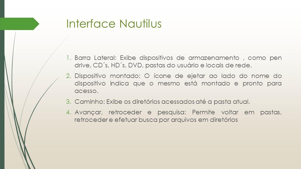 Interface Nautilus Barra Lateral: Exibe dispositivos de armazenamento , como pen drive, CD´s, HD´s, DVD, pastas do usuário e locais de rede.