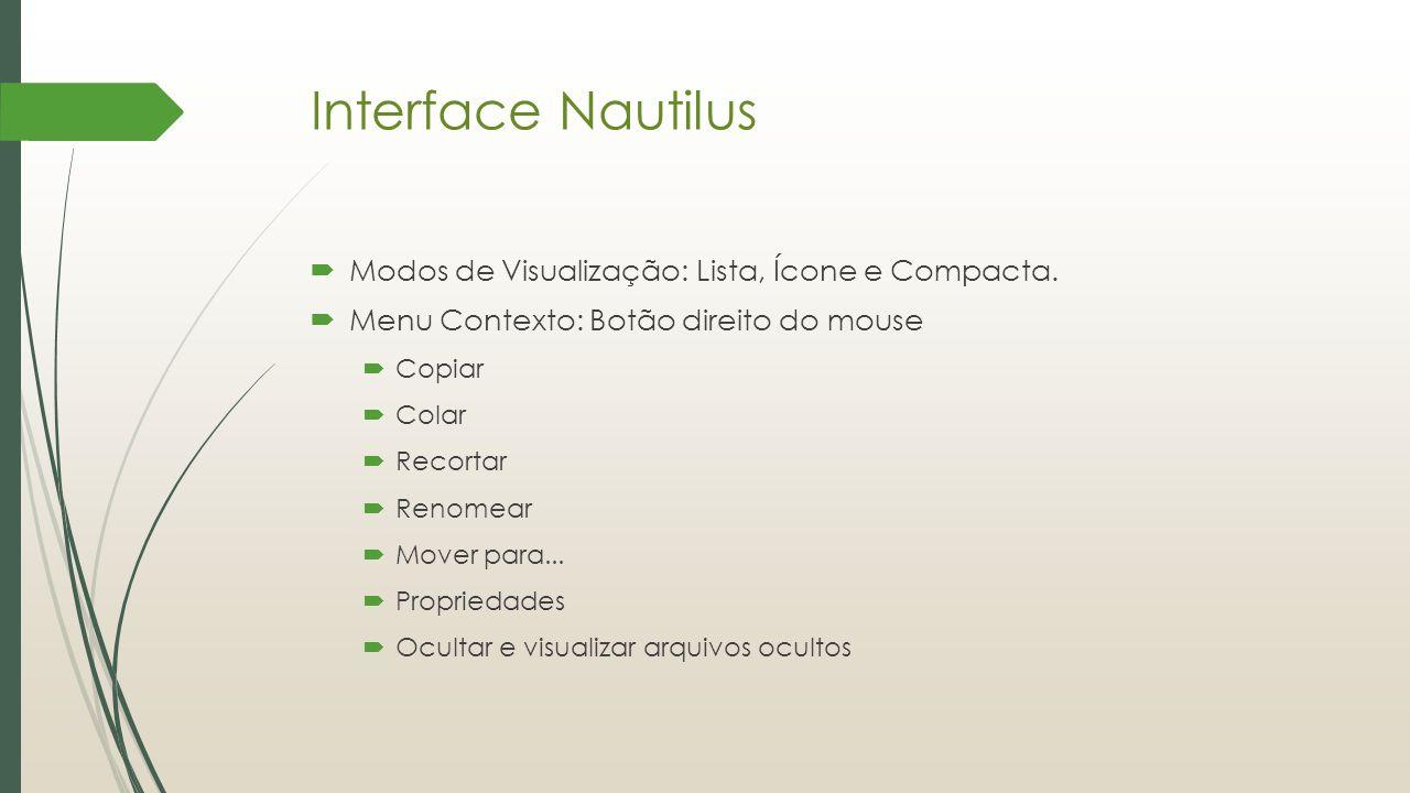 Interface Nautilus Modos de Visualização: Lista, Ícone e Compacta.