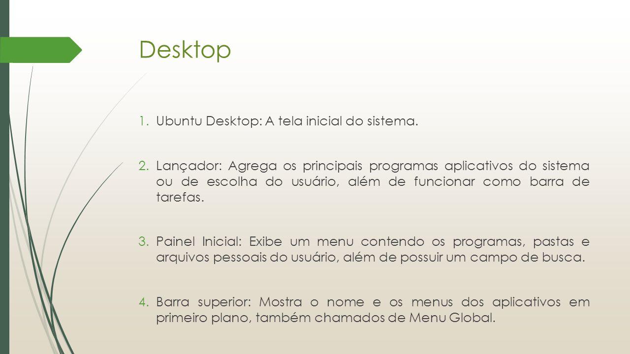 Desktop Ubuntu Desktop: A tela inicial do sistema.