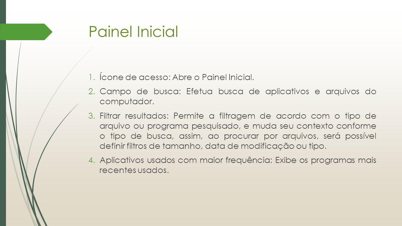Painel Inicial Ícone de acesso: Abre o Painel Inicial.
