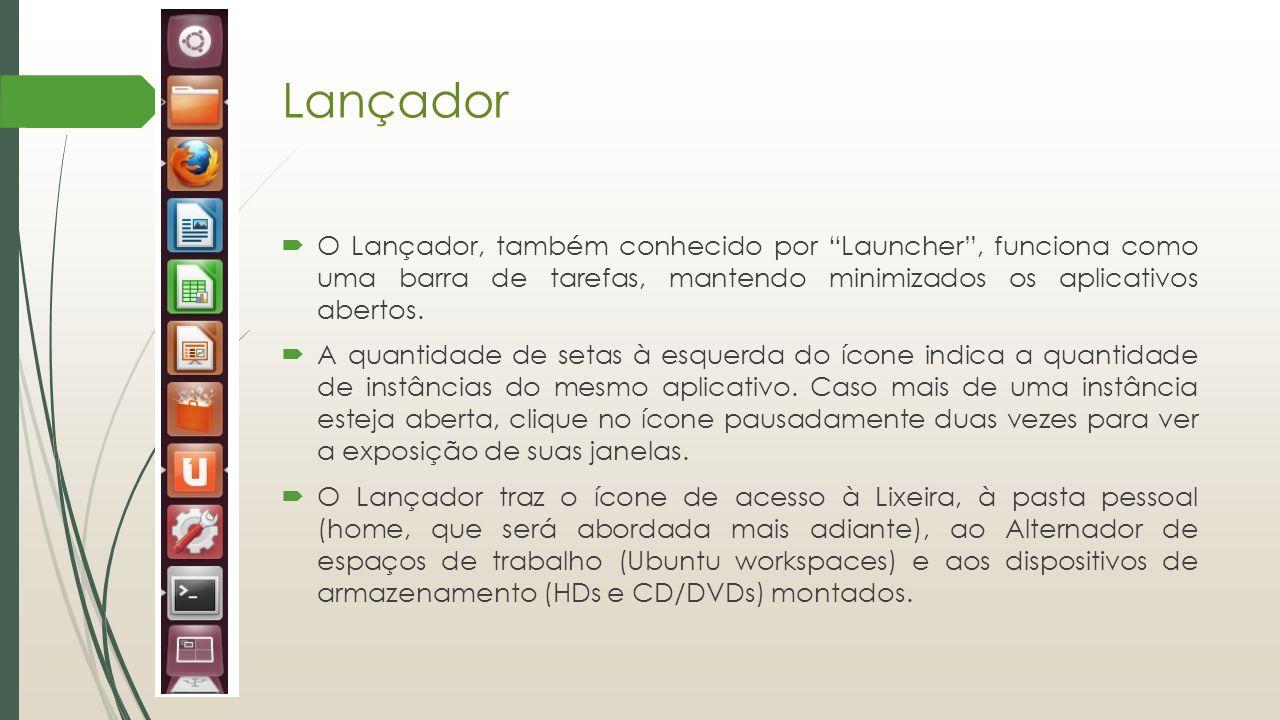 Lançador O Lançador, também conhecido por Launcher , funciona como uma barra de tarefas, mantendo minimizados os aplicativos abertos.