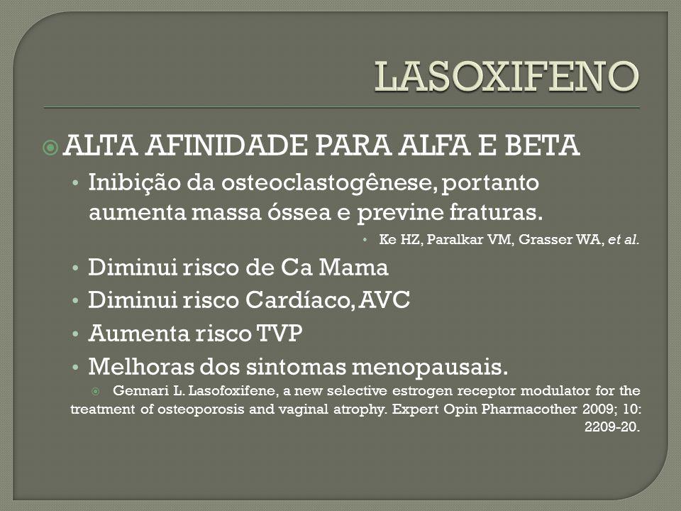 LASOXIFENO ALTA AFINIDADE PARA ALFA E BETA