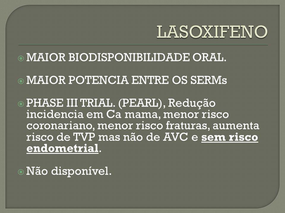 LASOXIFENO MAIOR BIODISPONIBILIDADE ORAL.