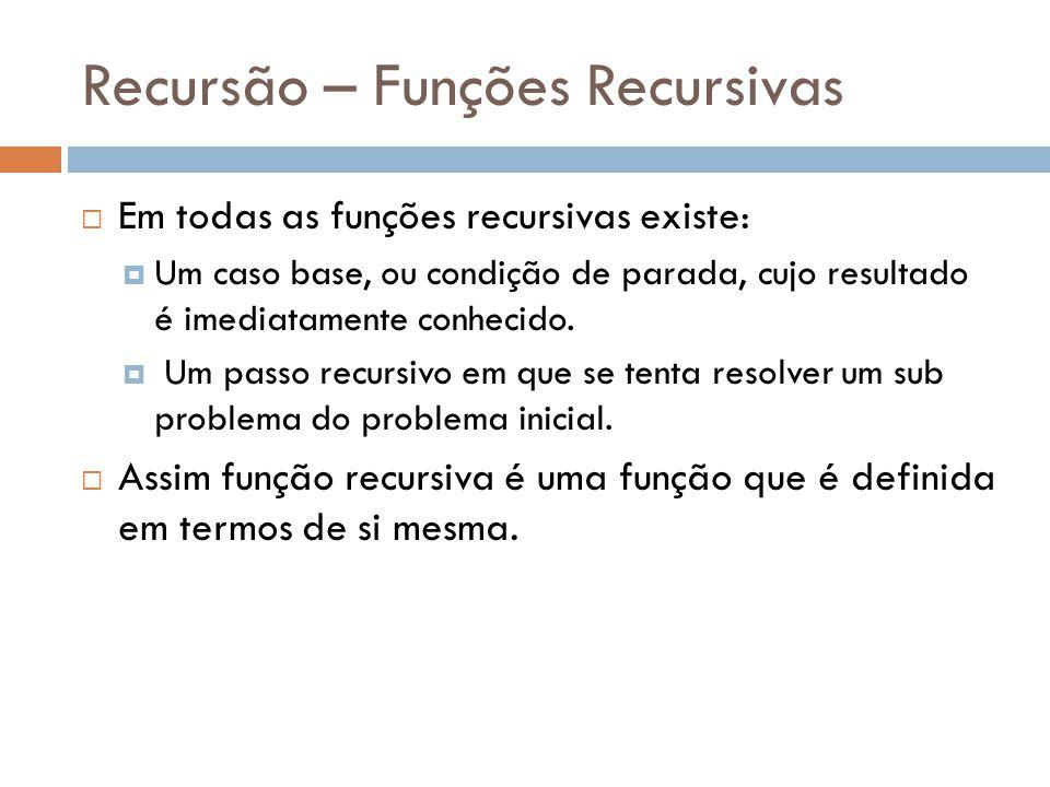 Recursão – Funções Recursivas