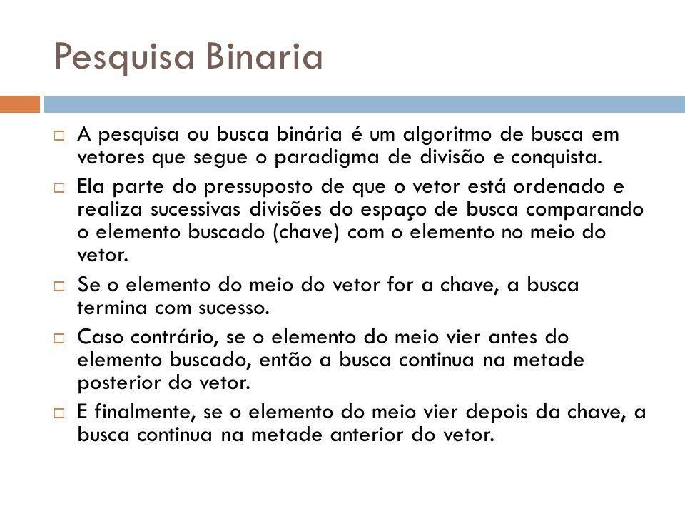 Pesquisa Binaria A pesquisa ou busca binária é um algoritmo de busca em vetores que segue o paradigma de divisão e conquista.
