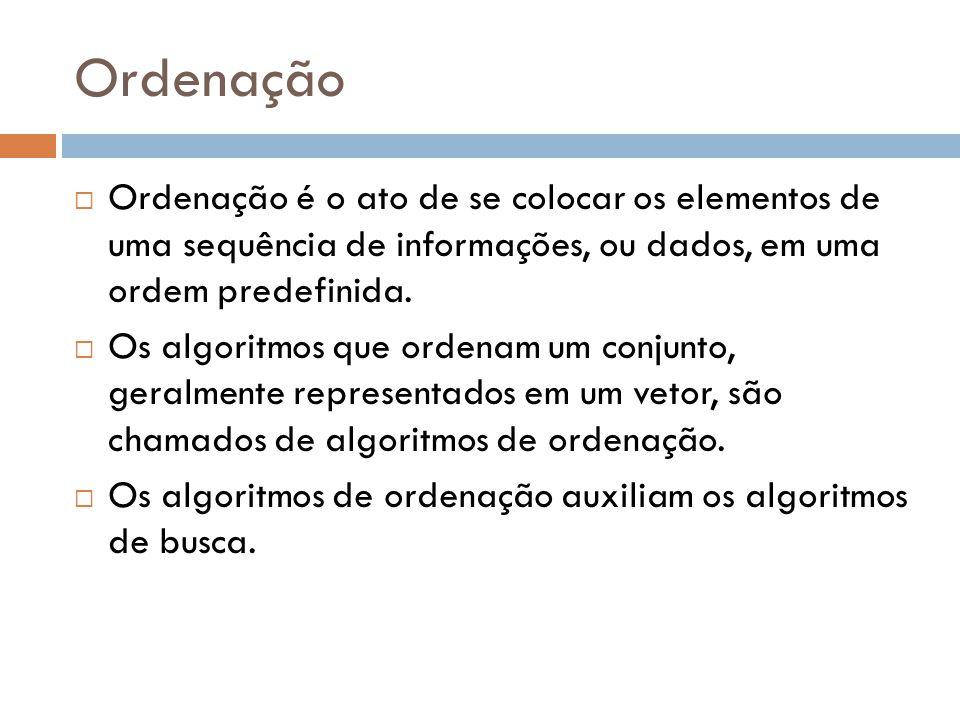 Ordenação Ordenação é o ato de se colocar os elementos de uma sequência de informações, ou dados, em uma ordem predefinida.
