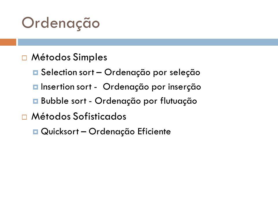 Ordenação Métodos Simples Métodos Sofisticados