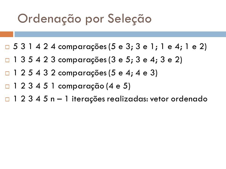 Ordenação por Seleção 5 3 1 4 2 4 comparações (5 e 3; 3 e 1; 1 e 4; 1 e 2) 1 3 5 4 2 3 comparações (3 e 5; 3 e 4; 3 e 2)