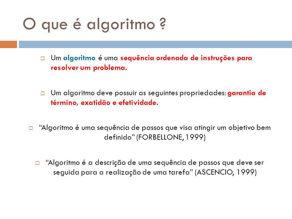 O que é algoritmo Um algoritmo é uma sequência ordenada de instruções para resolver um problema.