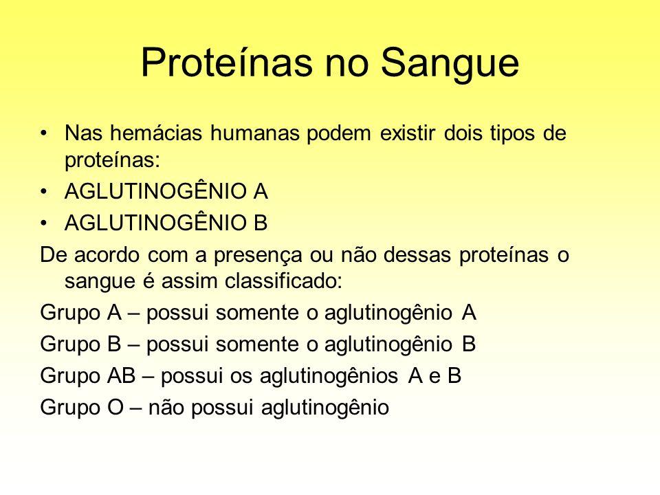 Proteínas no Sangue Nas hemácias humanas podem existir dois tipos de proteínas: AGLUTINOGÊNIO A. AGLUTINOGÊNIO B.