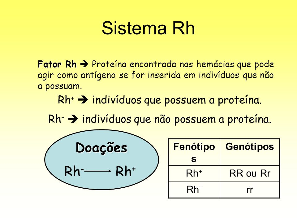Sistema Rh Doações Rh- Rh+ Rh+  indivíduos que possuem a proteína.