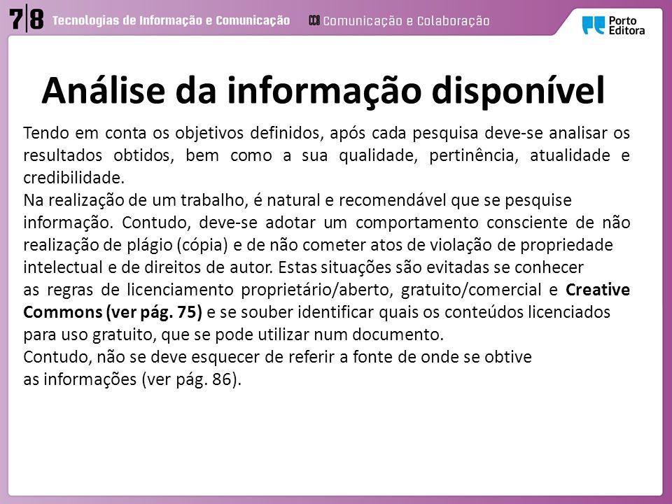 Análise da informação disponível