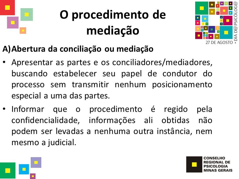 O procedimento de mediação