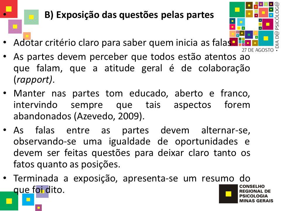 B) Exposição das questões pelas partes