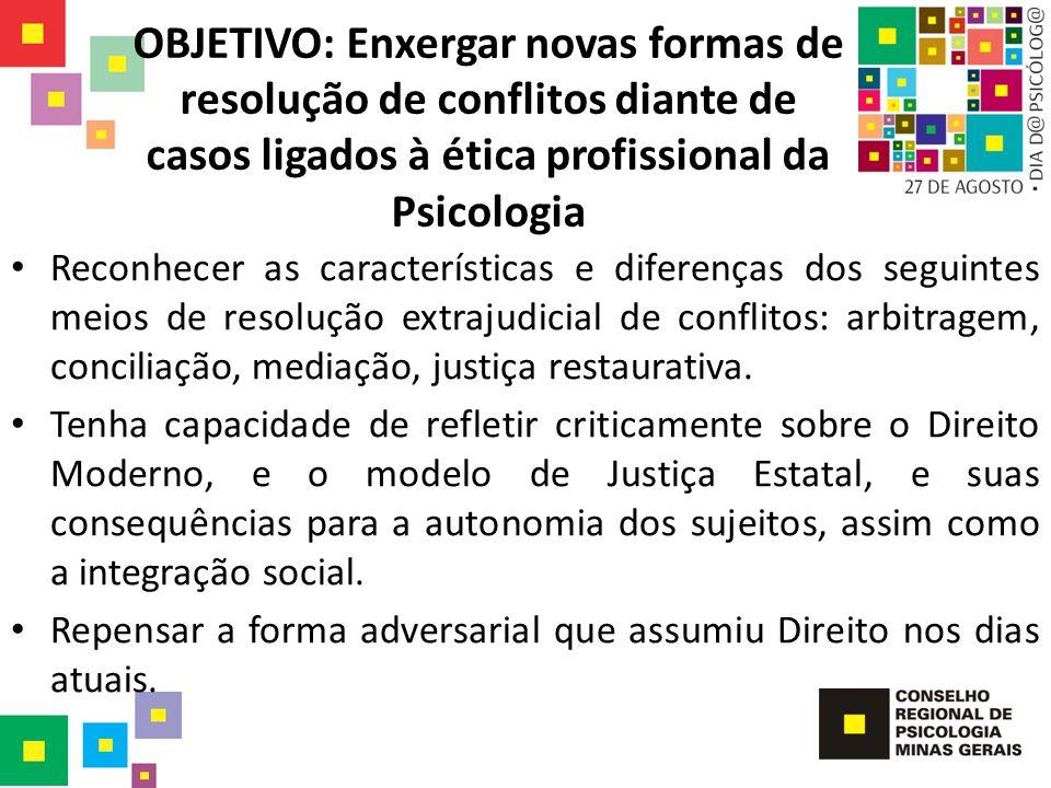 OBJETIVO: Enxergar novas formas de resolução de conflitos diante de casos ligados à ética profissional da Psicologia