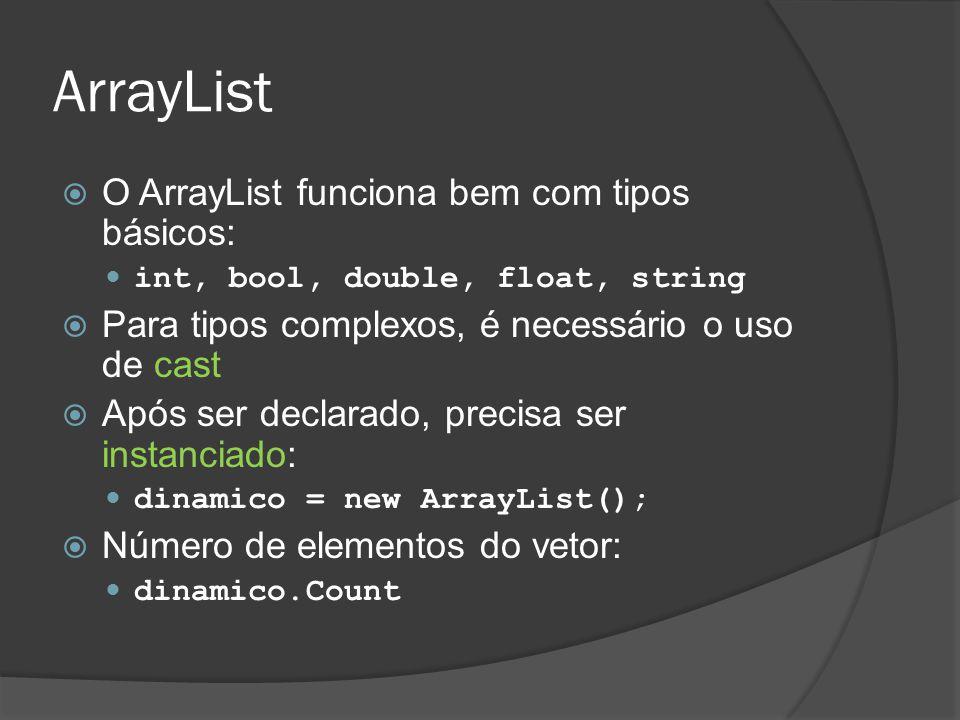 ArrayList O ArrayList funciona bem com tipos básicos:
