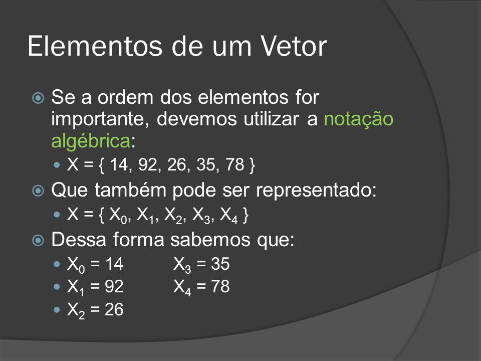 Elementos de um Vetor Se a ordem dos elementos for importante, devemos utilizar a notação algébrica: