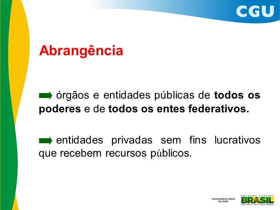 Abrangência órgãos e entidades públicas de todos os poderes e de todos os entes federativos.