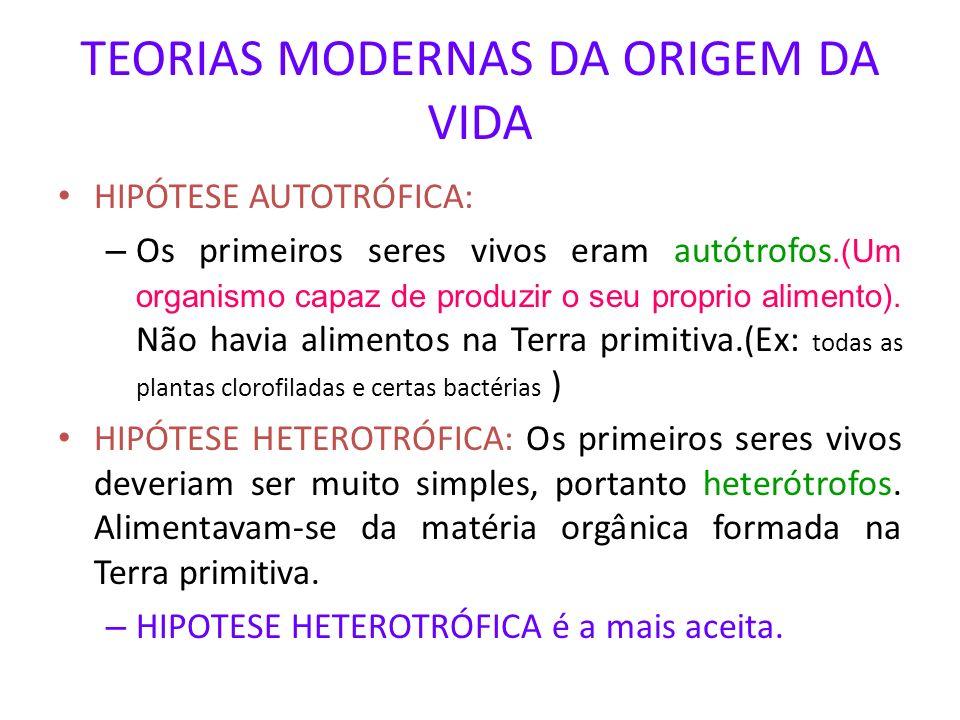 TEORIAS MODERNAS DA ORIGEM DA VIDA