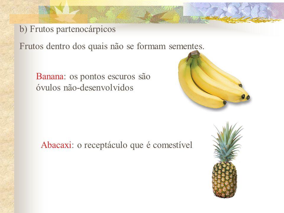 b) Frutos partenocárpicos