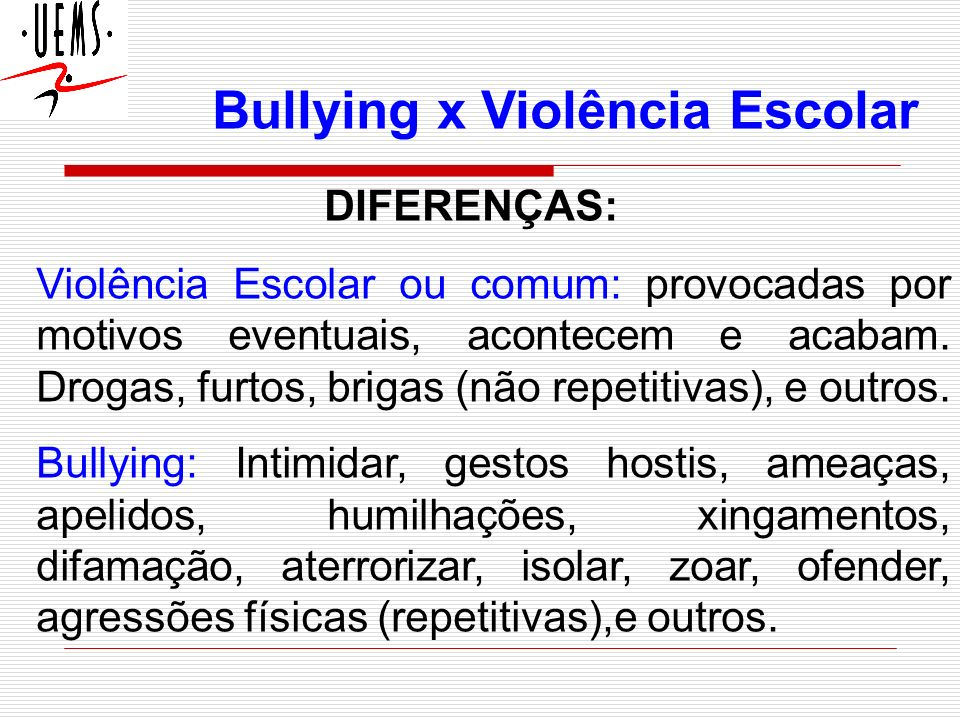 Bullying x Violência Escolar