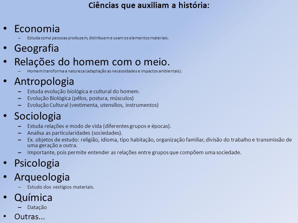 Ciências que auxiliam a história: