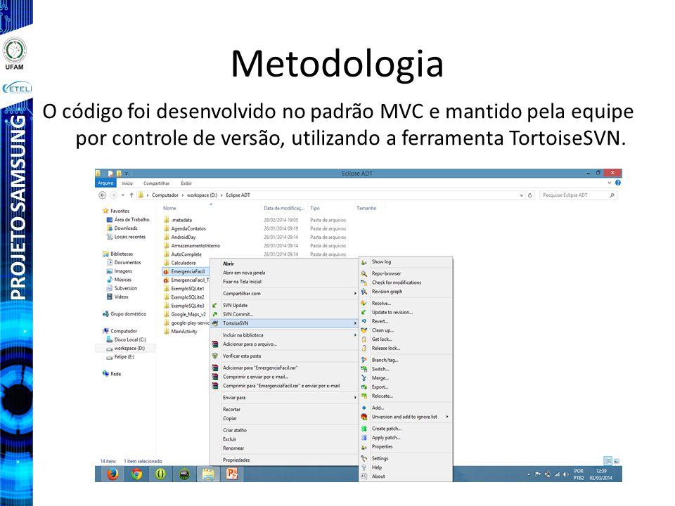 Metodologia O código foi desenvolvido no padrão MVC e mantido pela equipe por controle de versão, utilizando a ferramenta TortoiseSVN.