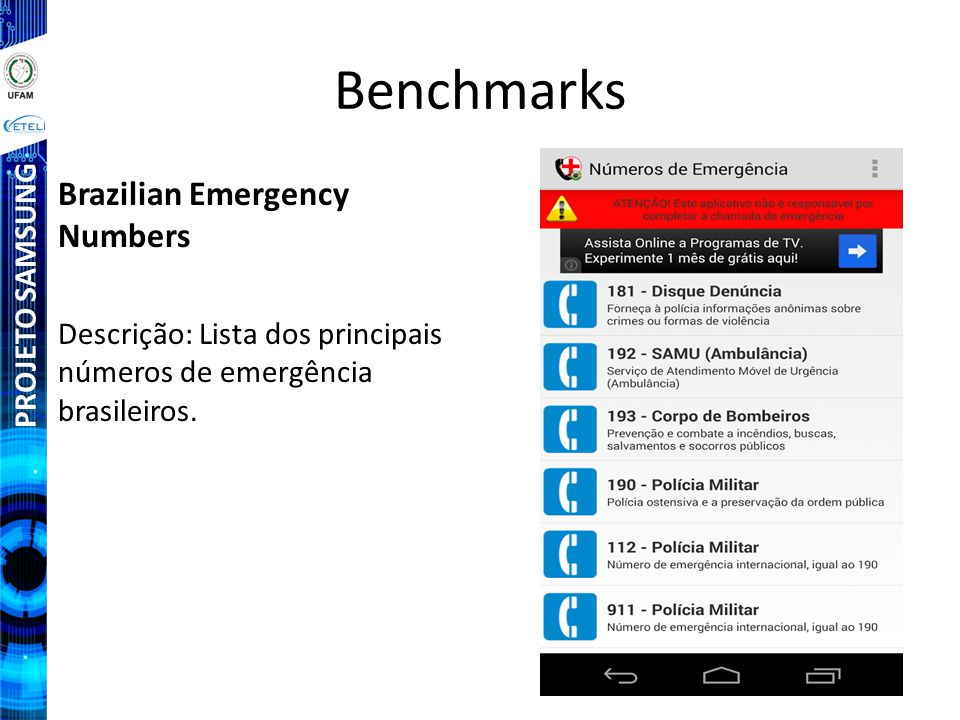 Benchmarks Brazilian Emergency Numbers PROJETO SAMSUNG