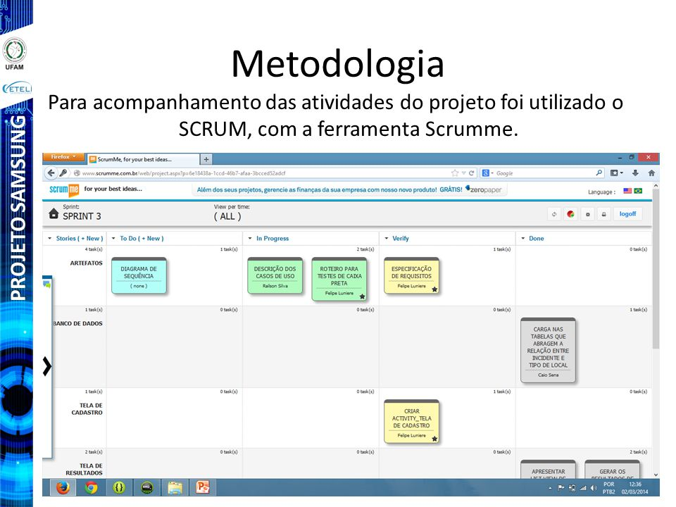 Metodologia Para acompanhamento das atividades do projeto foi utilizado o SCRUM, com a ferramenta Scrumme.