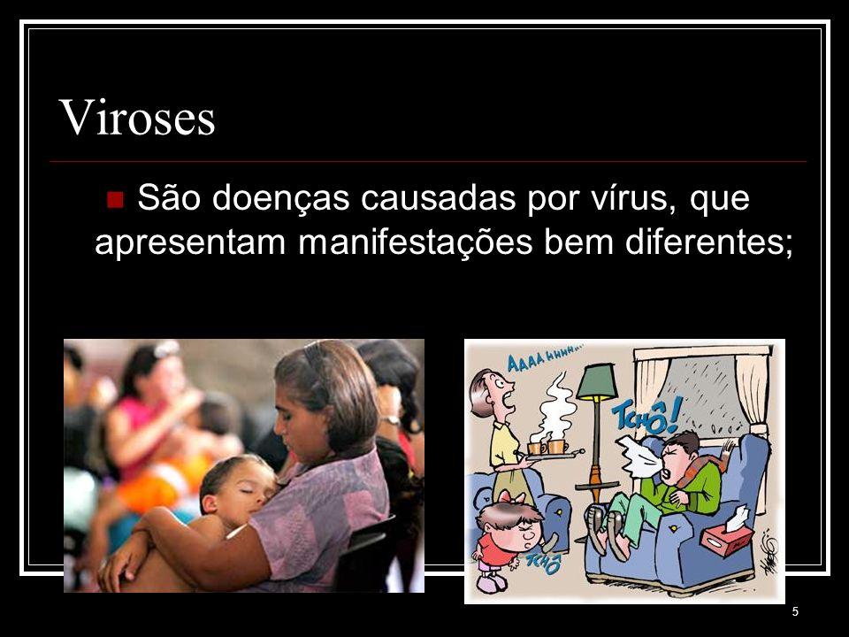 Viroses São doenças causadas por vírus, que apresentam manifestações bem diferentes;