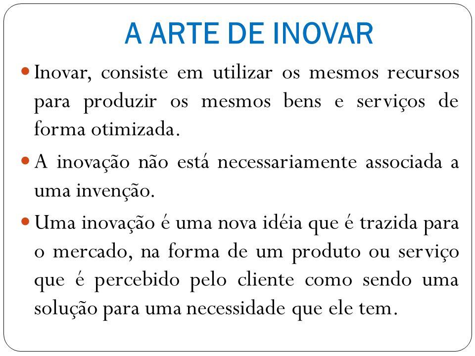 A ARTE DE INOVAR Inovar, consiste em utilizar os mesmos recursos para produzir os mesmos bens e serviços de forma otimizada.