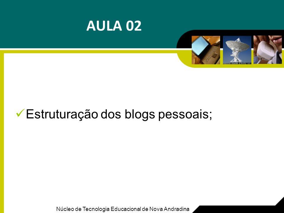 Estruturação dos blogs pessoais;