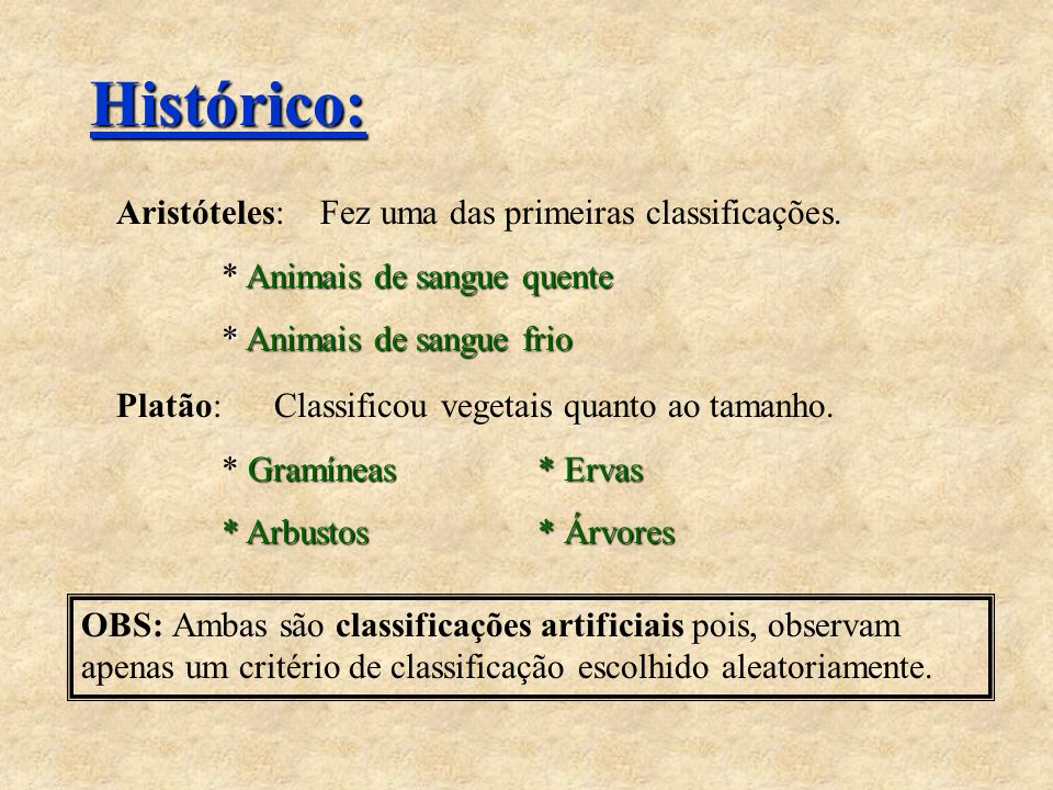 Histórico: Aristóteles: Fez uma das primeiras classificações.
