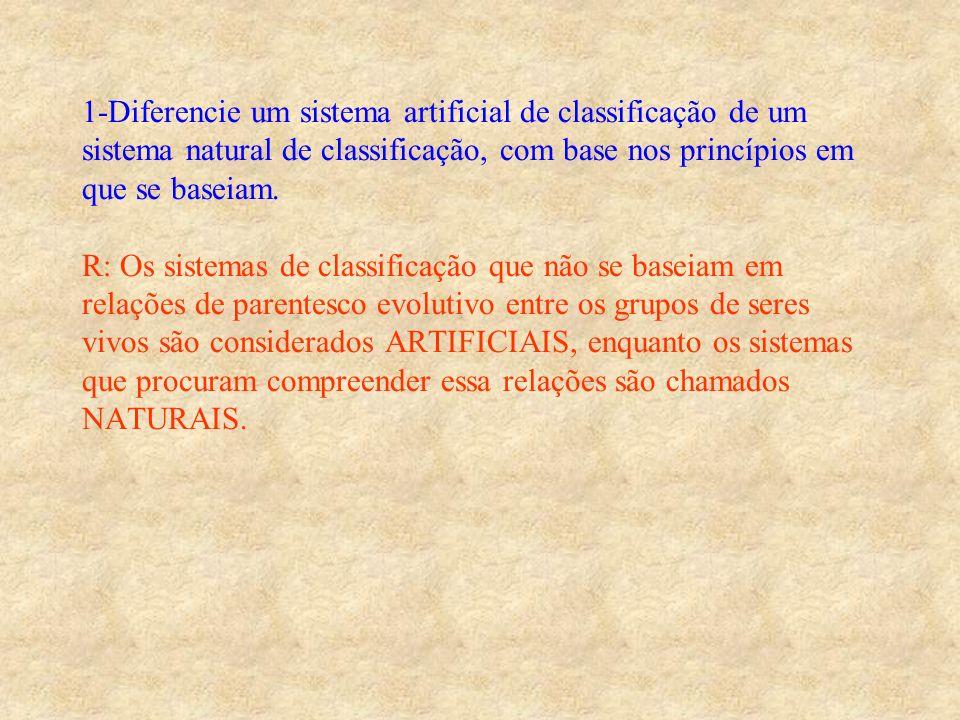 1-Diferencie um sistema artificial de classificação de um sistema natural de classificação, com base nos princípios em que se baseiam.